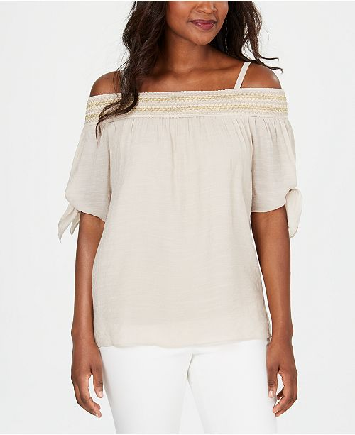JM Collection Smocked Off-The-Shoulder Gauze Top, Created for Macy's
