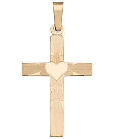Heart on Cross Pendant in 14k Yellow Gold
