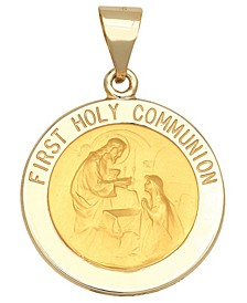 First Holy Communion Medal Pendant in 14k Yellow Gold
