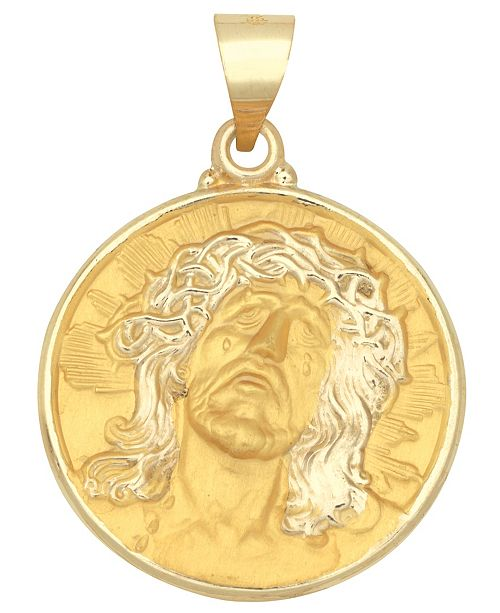 Macy's Christ Head Medal Pendant in 14k Yellow Gold