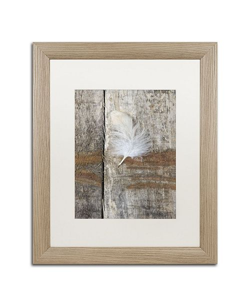 """Trademark Global Cora Niele 'Feather on Wood I' Matted Framed Art - 20"""" x 16"""" x 0.5"""""""