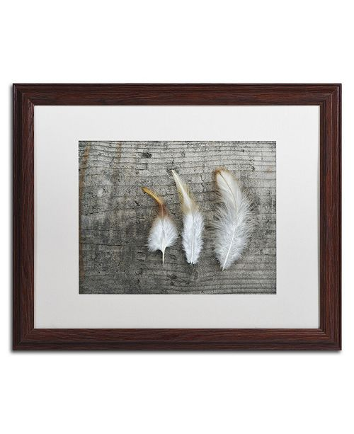 """Trademark Global Cora Niele 'Three Feathers on Wood' Matted Framed Art - 20"""" x 16"""" x 0.5"""""""