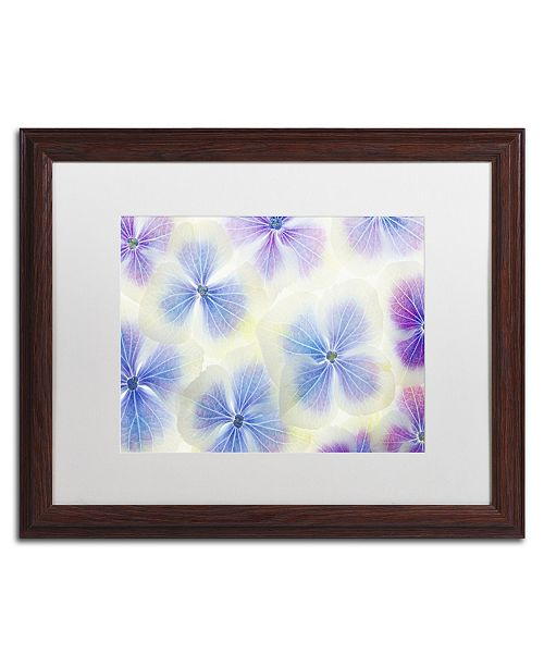 """Trademark Global Cora Niele 'Blue and White Hydrangea Flowers' Matted Framed Art - 20"""" x 16"""" x 0.5"""""""