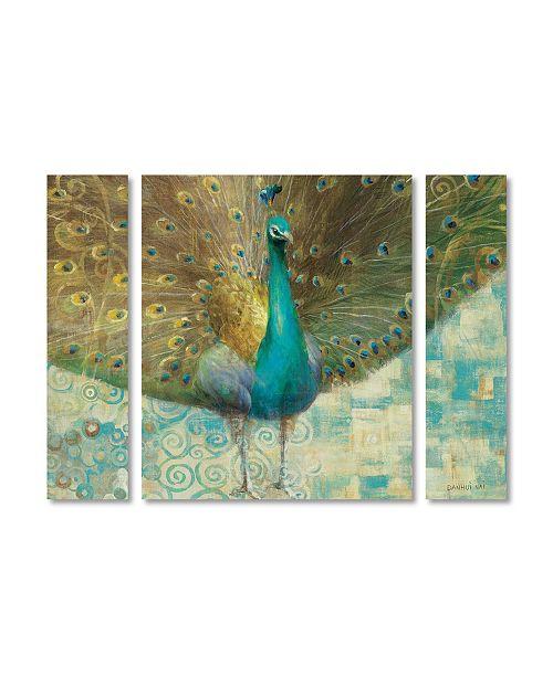 "Trademark Global Danhui Nai 'Teal Peacock on Gold' Multi Panel Art Set Small - 32"" x 24"" x 2"""