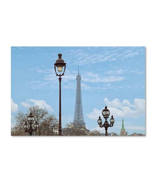 "Trademark Global Cora Niele 'Street Lamps And Eiffel Tower' Canvas Art - 19"" x 12"" x 2"""