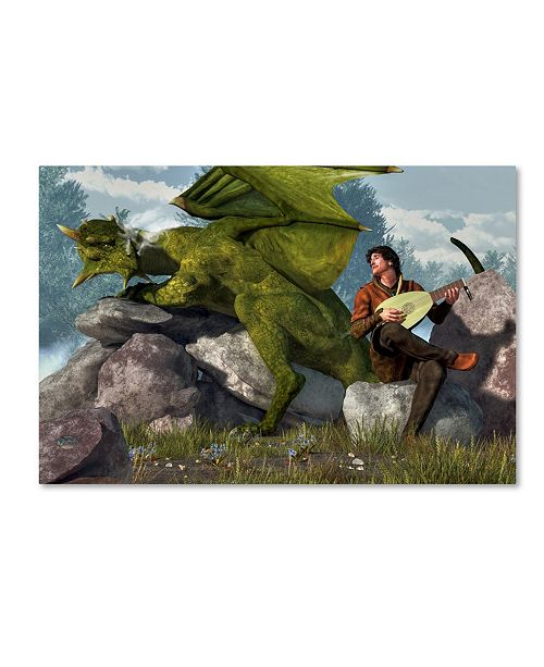 "Trademark Global Daniel Eskridge 'Bard And Dragon' Canvas Art - 19"" x 12"" x 2"""