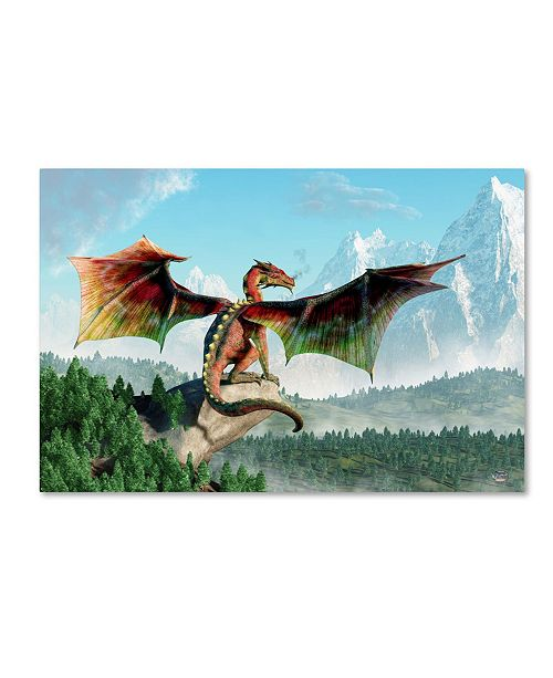 "Trademark Global Daniel Eskridge 'Perched Dragon' Canvas Art - 47"" x 30"" x 2"""