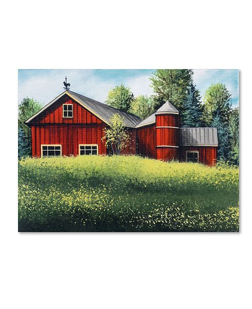 "Trademark Global Debbi Wetzel 'Red Barn Summer sm' Canvas Art - 19"" x 14"" x 2"""