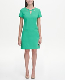 Tommy Hilfiger Scuba Crepe Grommet Top Pocket Dress
