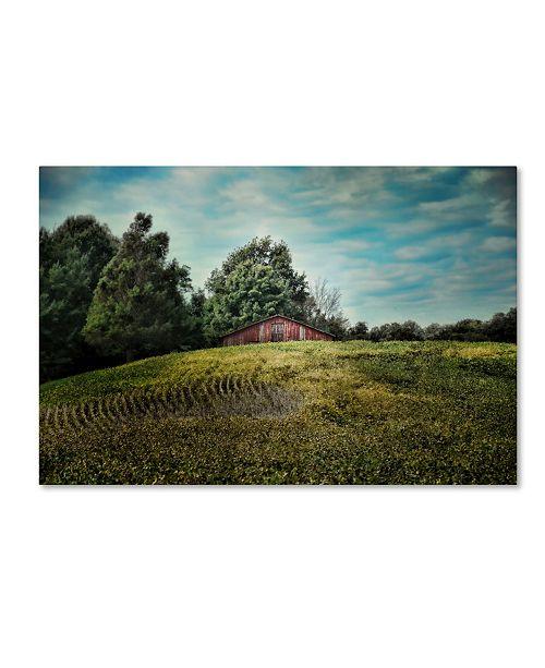 "Trademark Global Jai Johnson 'Red Barn On The Hill' Canvas Art - 24"" x 16"" x 2"""