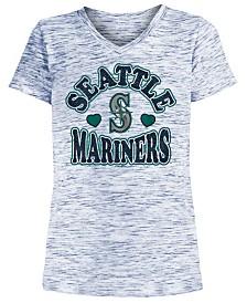 5th & Ocean Big Girls Seattle Mariners Spacedye T-Shirt