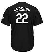 2d423fbb4b361 Majestic Men s Clayton Kershaw Los Angeles Dodgers Black Tux Replica Cool  Base Jersey