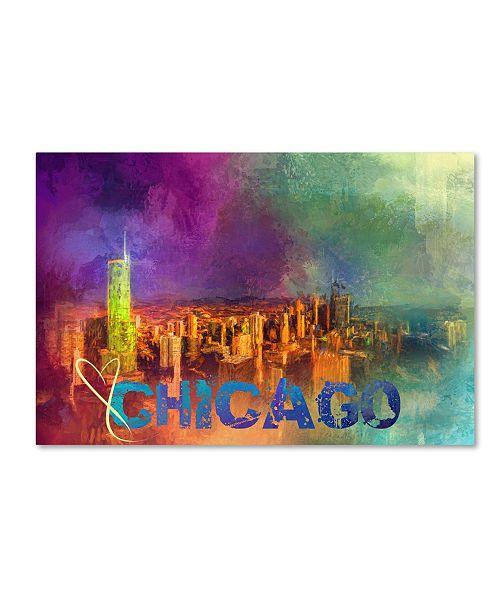"Trademark Global Jai Johnson 'Sending Love To Chicago' Canvas Art - 47"" x 30"" x 2"""