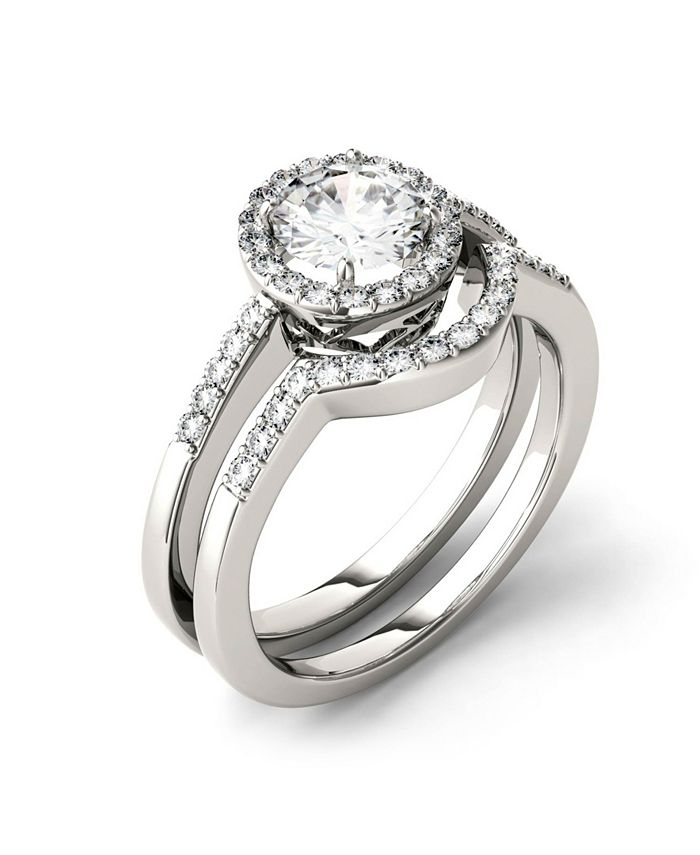 Charles & Colvard - Moissanite Bridal Set (1-1/6 ct. t.w. Diamond Equivalent) in 14k white gold