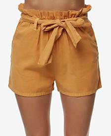 Juniors' Belted Paperbag Shorts
