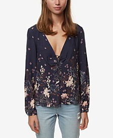 Juniors' Printed Lace-Up Top