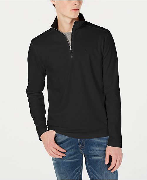 Calvin Klein Men's Solid Liquid Touch Quarter-Zip Sweater