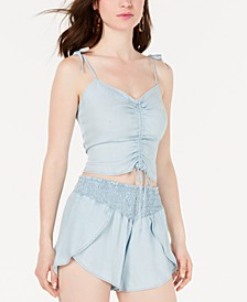 Sleeveless Chambray Ruched Top