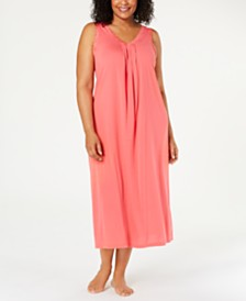 Charter Club Plus Size Lace-Trim Nightgown, Created for Macy's