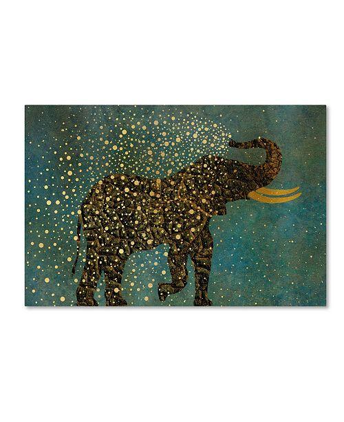"Trademark Global Cora Niele 'Gold Spraying Elephant' Canvas Art - 19"" x 12"" x 2"""