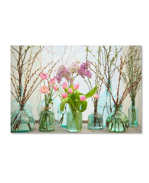 "Trademark Global Cora Niele 'Spring Flowers In Glass Bottles Vi' Canvas Art - 19"" x 12"" x 2"""