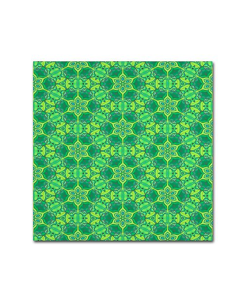"""Trademark Global Cora Niele 'Stained Glass Green Pattern' Canvas Art - 14"""" x 14"""" x 2"""""""