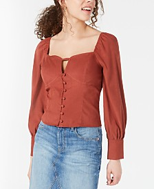 Moon River Puffed-Sleeve Top