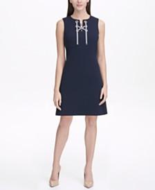 Tommy Hilfiger Scuba Crepe Lace Up A-line Dress