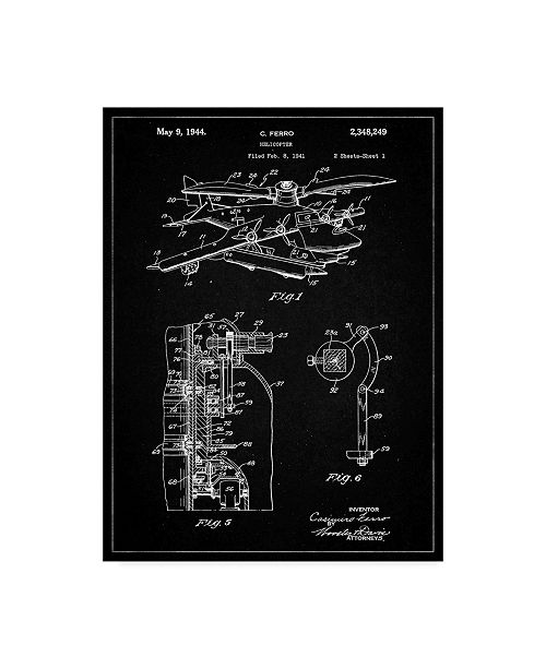 "Trademark Innovations Cole Borders 'Helicopter' Canvas Art - 19"" x 14"" x 2"""