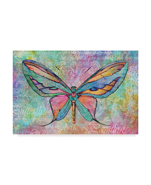 "Trademark Global Cora Niele 'Colorful Butterfly' Canvas Art - 19"" x 12"" x 2"""