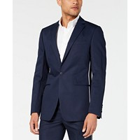 Deals on Calvin Klein Mens Skinny-Fit Contrast Piped Suit Jacket