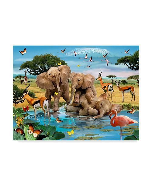 "Trademark Global Howard Robinson 'Three Elephants' Canvas Art - 47"" x 35"" x 2"""