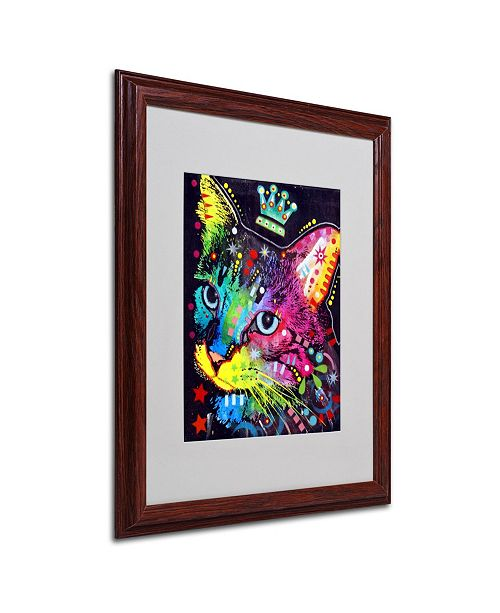 """Trademark Global Dean Russo 'Thinking Cat Crowned' Matted Framed Art - 16"""" x 20"""" x 0.5"""""""