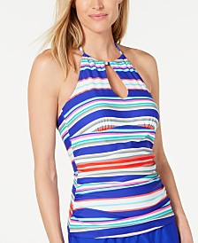 Island Escape Ocean Drive Shirred Tankini Top, Created for Macy's