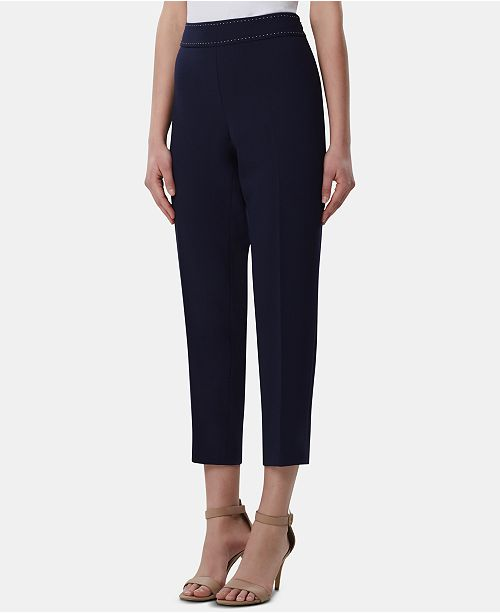 Tahari ASL Side-Zip Studded Ankle Pants