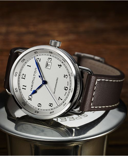 Men S Swiss Automatic Khaki Navy Pioneer Brown Leather Strap Watch 43mm H77715553