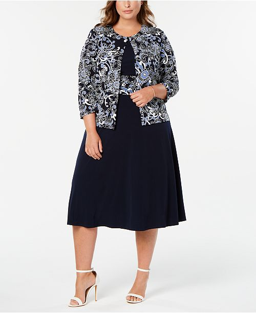 Jessica Howard Plus Size Printed Jacket & Dress & Reviews ...