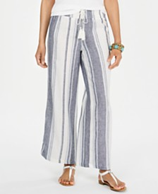 Style & Co Striped Wide-Leg Pull-On Pants, Created for Macy's