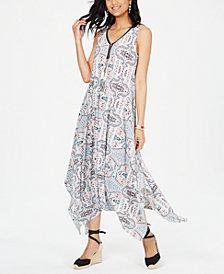 Style & Co Printed Sleeveless Handkerchief-Hem Midi Dress, Created for Macy's