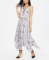 b7715b24f79 Style   Co Printed Sleeveless Handkerchief-Hem Midi Dress