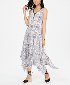 Style & Co Printed Sleeveless Handkerchief-Hem Midi Dress, Created for Macy's