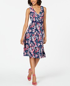 8001a626f Adrianna Papell Pleated Floral-Print A-Line Dress