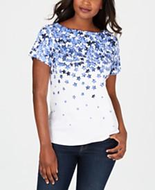 Karen Scott Falling Stars Printed Top, Created for Macy's