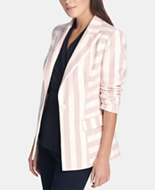 DKNY Striped One-Button Blazer