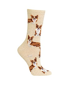 Hot Sox Women's Corgi Print Fashion Crew Socks