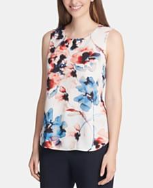 DKNY Sleeveless Floral Print Top