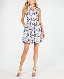 Vince Camuto Sleeveless V-Neck Jacquard Fit & Flare Dress