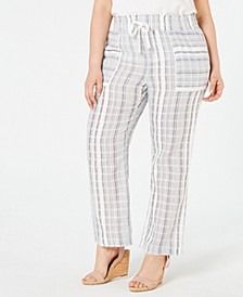 Petite Plus Size Cotton Striped Pants