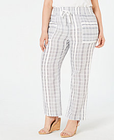 NY Collection Plus Size Cotton Striped Pants
