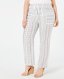NY Collection Petite Plus Size Cotton Striped Pants